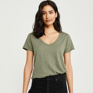 New Abercrombie & Fitch Soft A&F Washed Tee Olive